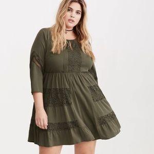Torrid Olive Green Lace Inset Challis Dress